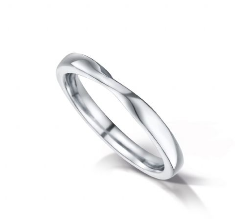 Shaped court eternity/wedding ring, 2.4mm x 1.7mm. Platinum